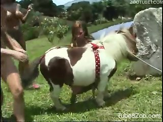 Outdoor farm bestiality XXX with Asian hotties and a pony